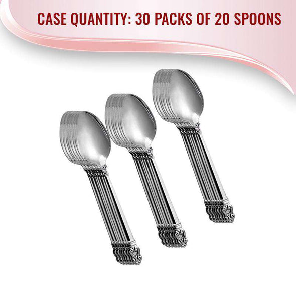Danish Crown Metallic Silver Luxury Plastic Spoons