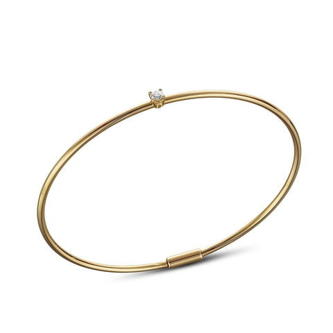 Bracelet - golden bangle with one solitair 0.10carat diamond