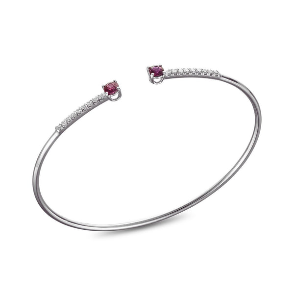 Bracelet - White gold bangle with 2 red rubys and 18 0.01carat diamonds