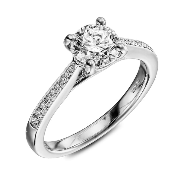 Prague - white gold engagementring with 1carat diamond