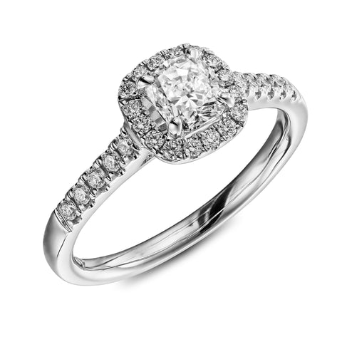 Cairo Cushion engagement ring with Halo and a cushion shaped diamond of 1.1carat