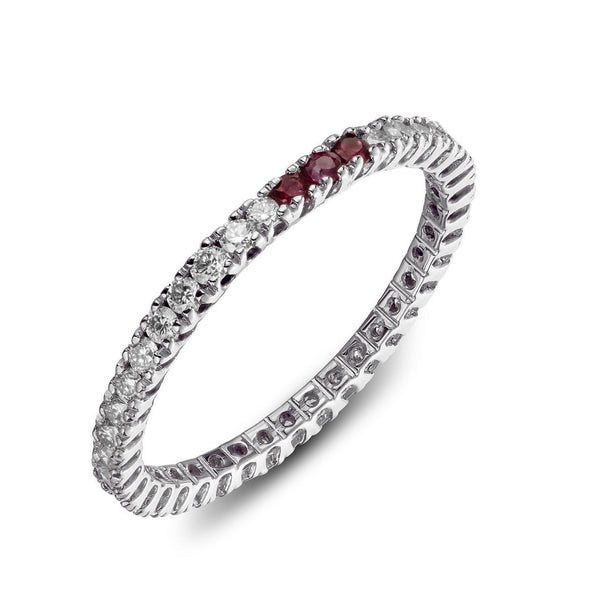 Ring - Eternity 3 Ruby - White gold wedding ring with diamonds and 3 red ruby's