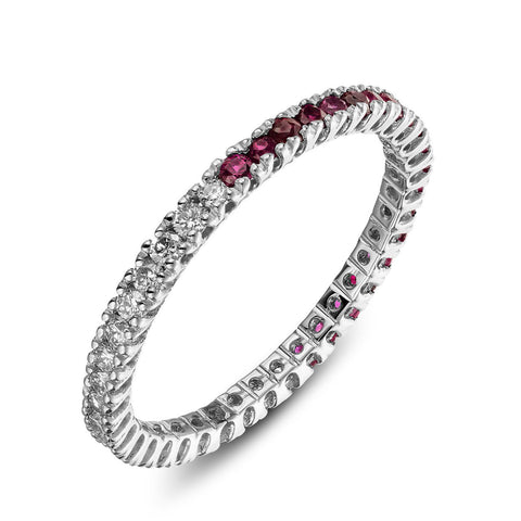 Ring - Eternity Half-half - whitegold ring with one half diamonds and one half ruby's