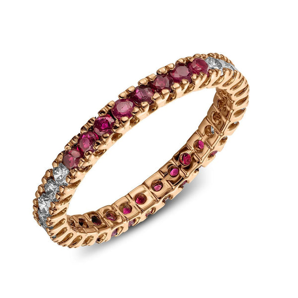 Ring - Ruby 1/4 - Yellow gold ring with two times 8 rubys and 2 times eigth diamonds