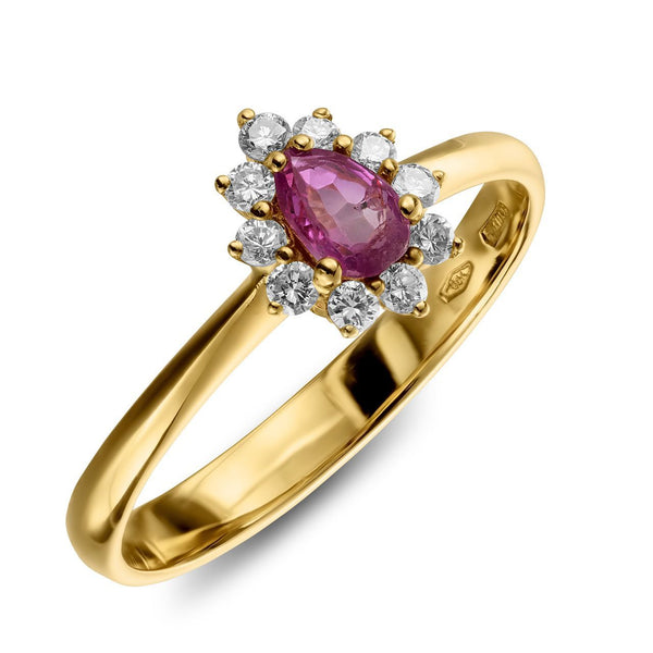 Ring - Ruby Queen - Rose pear shaped ruby set in yellow gold ring and halo of diamonds