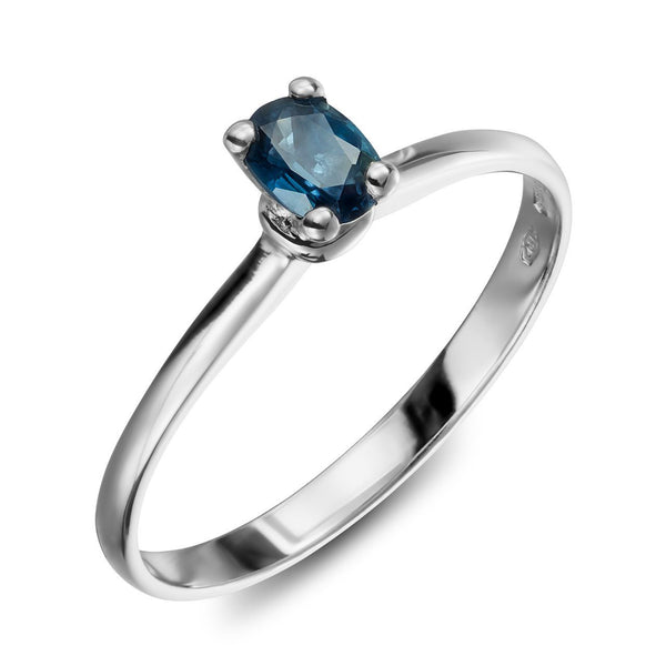 Ring - Saphire 1 - white gold solitair with blue saphire stone