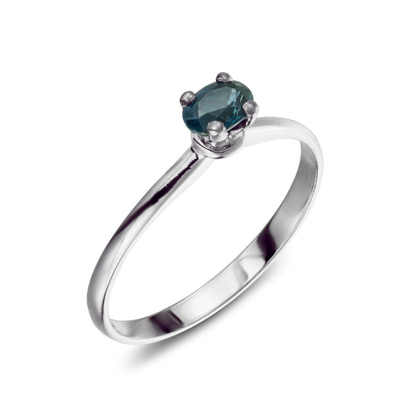 Ring - Saphire 2 - saphire stone set in white gold ring for women