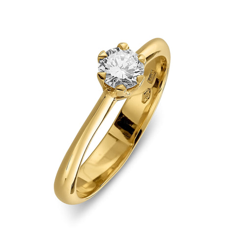 Engagementring in yellow gold with a 0.3carat diamond