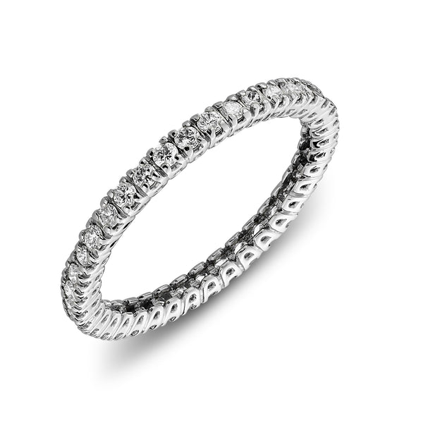 Eternity wedding ring in white gold with open setting