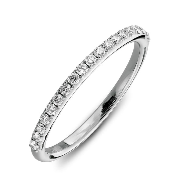 Wedding ring  with one half set with diamonds