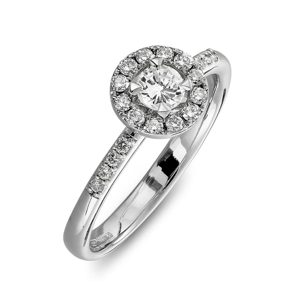 Halo white gold engagement ring for women with side diamonds
