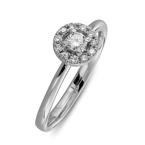 Halo engagement ring simple in white gold