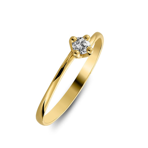 Little yellow gold ring with diamond of 0.10carat