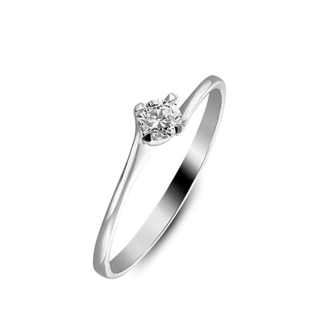 Little twisted white gold ring with solitair diamond of 0.10carat
