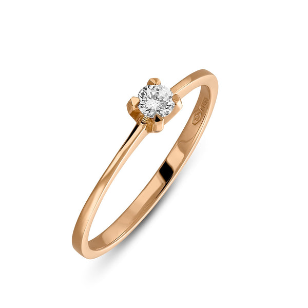 Small rose gold ring with solitair diamond of 0.10carat