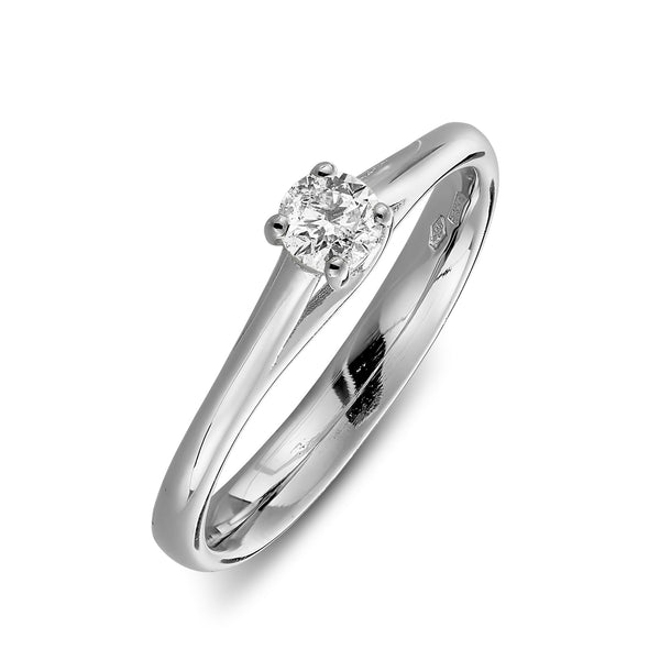 Milan solitaire diamond ring in white gold