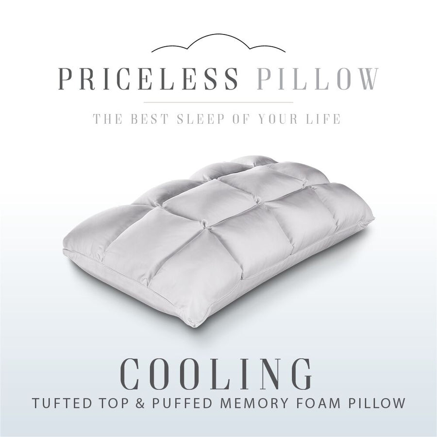 Priceless Cooling Tufted Top & Puffed Memory Foam Pillow