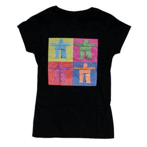 t-shir women balck pop inukshick justin lerose printed& designed in Whistler, british columbia locally made