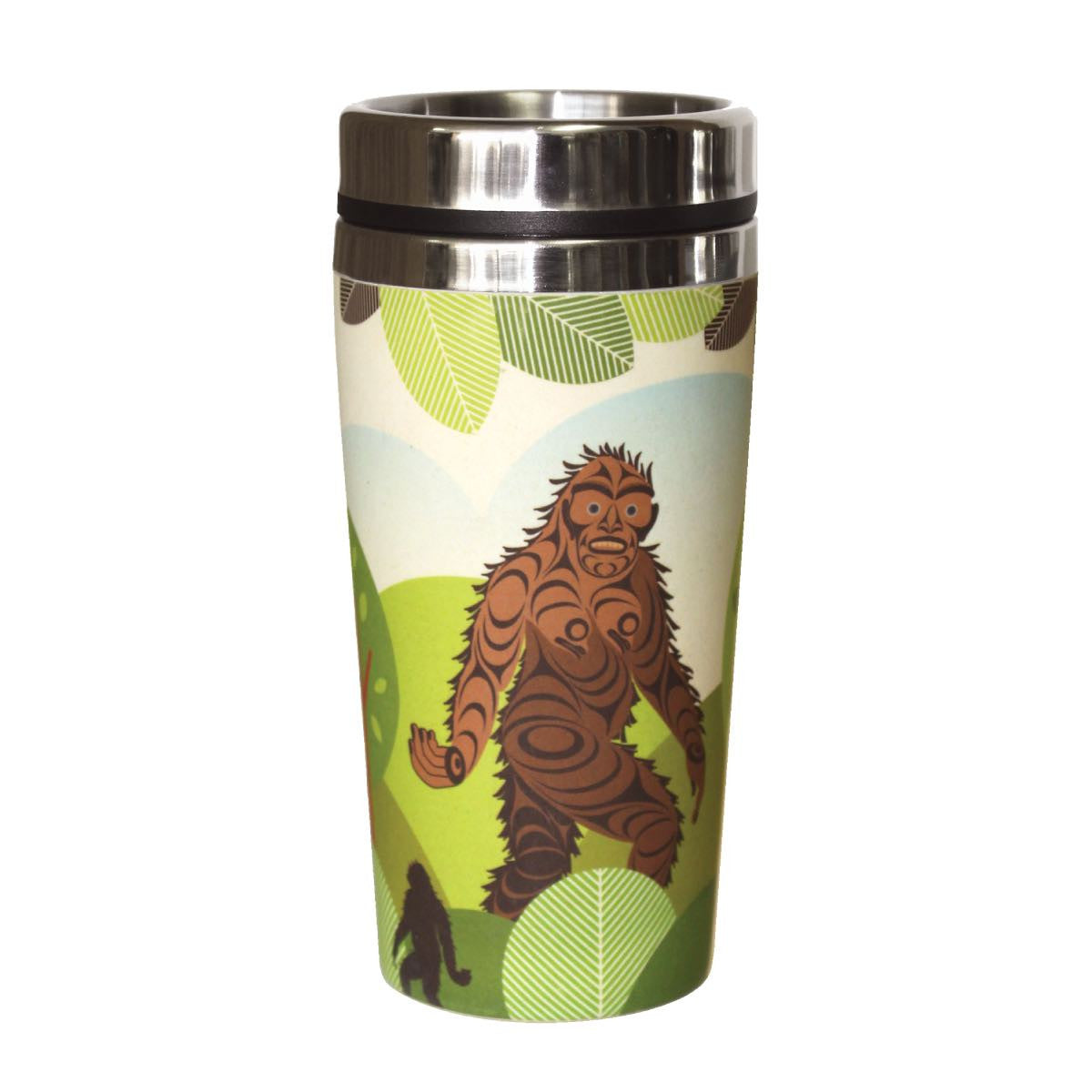 bamboo travel mug sasquatch big foot perfect gift unique gift reusable coffee mug