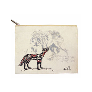 Canvas Zippered Pouch - Wolf by Charles Silverfox