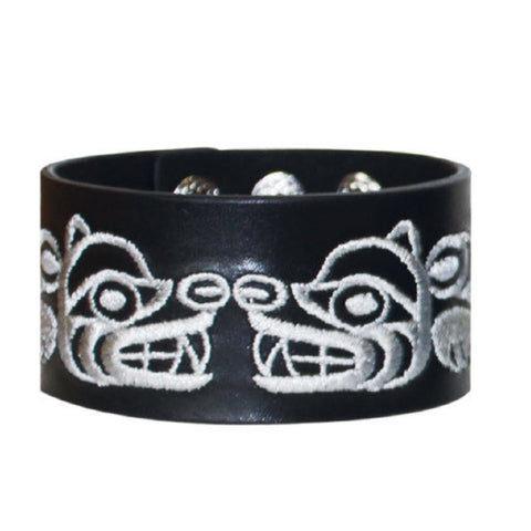 embroided leather cuff bear