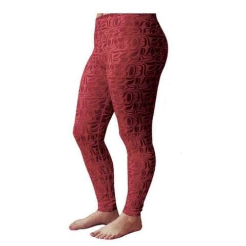 Leggings - Pacific Formlines by Paul Windsor (Red)