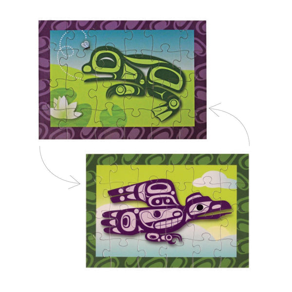 mini puzzle double sided raven frog corey bulpitt haida