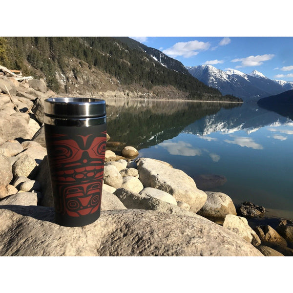 travel mug 16 oz chief of the seas donnie edenshaw haida design lake mountains