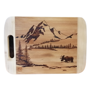 Cutting Board - Grazing the Day Away - Moose in the Mountains by Viera Art