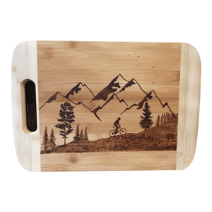 Cutting Board - Going up - Mountain Biker in the Mountains by Viera Art