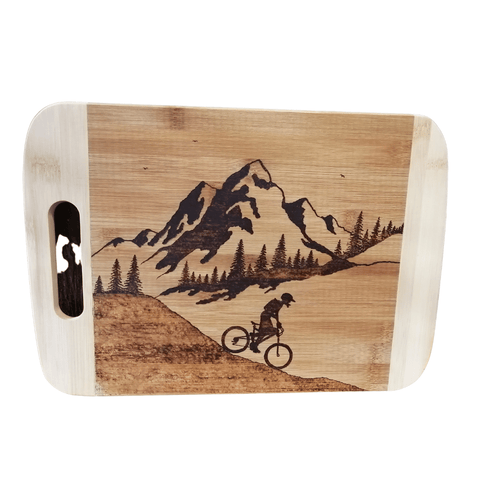 Cutting Board - Going Down - Mountain Biker in the Mountains by Viera Art