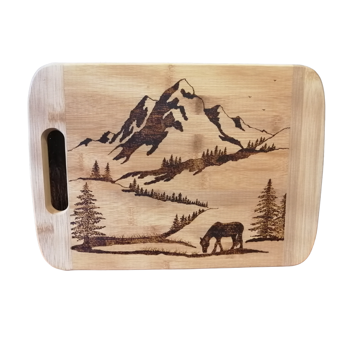 Cutting Board - Grazing the Day Away - Horse in the Mountains by Viera Art