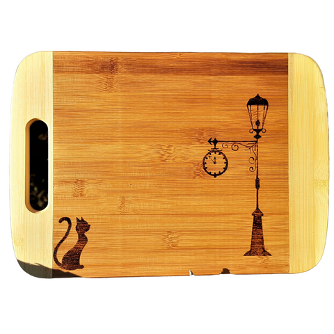 Cutting Board - Cat & Lamp by Viera Art - pyrography - wood