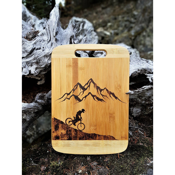Cutting Board - Mountains & A Biker by Viera Art - pyrography - home decor