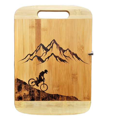 Cutting Board - Mountains & A Biker by Viera Art - pyrography