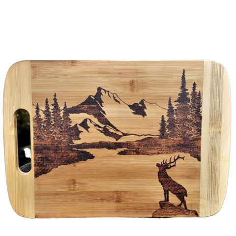 Cutting Board - Mountains & A Deer by Viera Art - pyrography