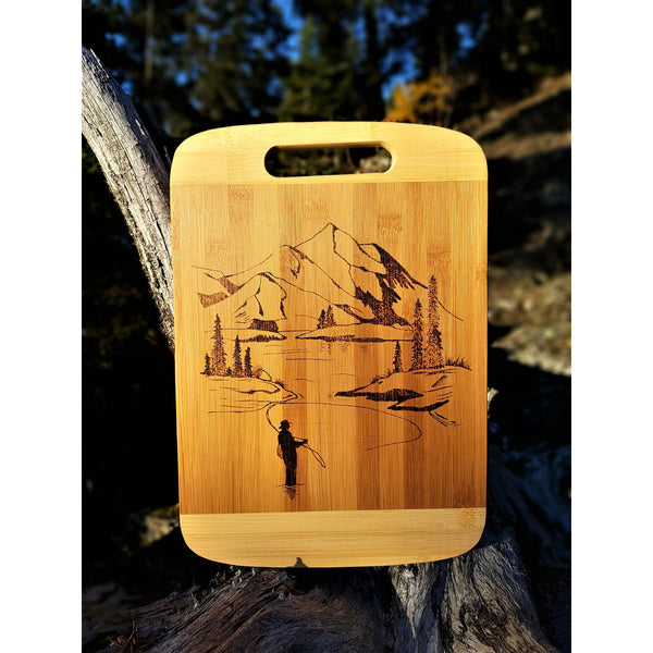 Cutting Board - Mountains & Fisherman by Viera Art - pyrography - home decor