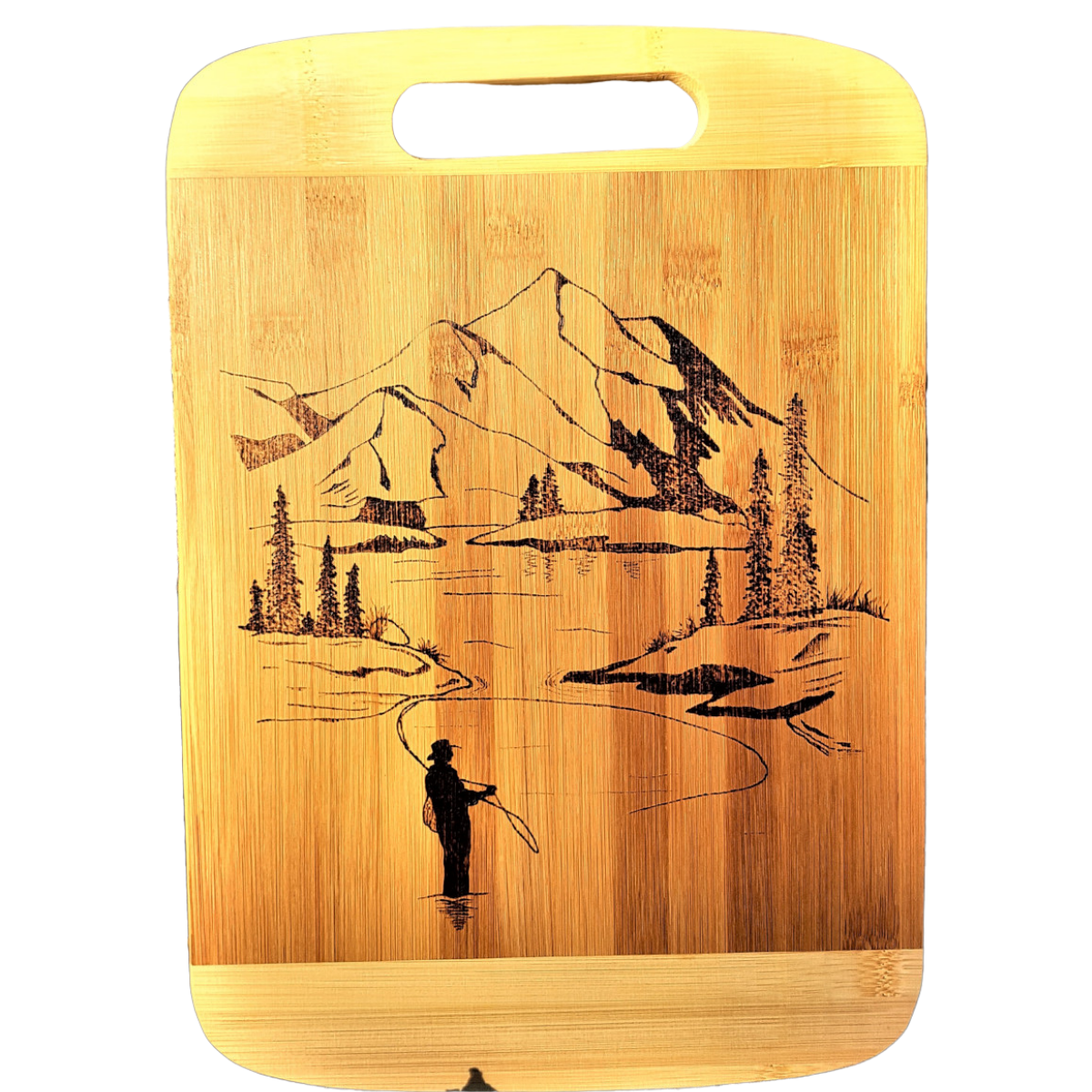 Cutting Board - Mountains & Fisherman by Viera Art - pyrography