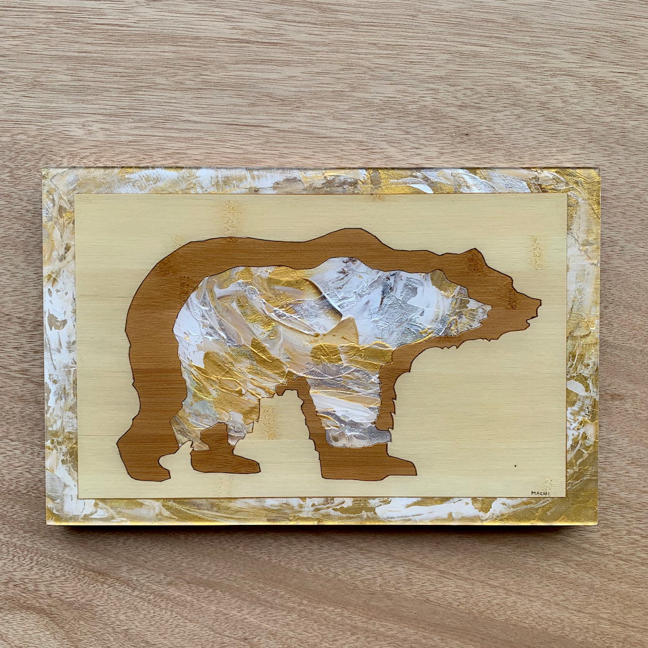 Wood Panel - Bamboo Bear by Machi Mela
