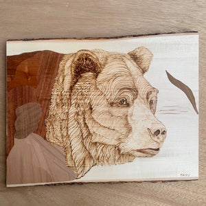 Wood Panel - Bear Love by Machi Mela