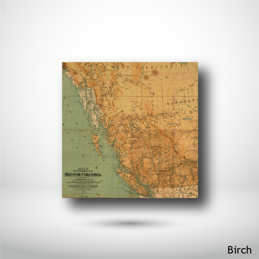 Wood Panel - Square - Birch - Map of British Columbia