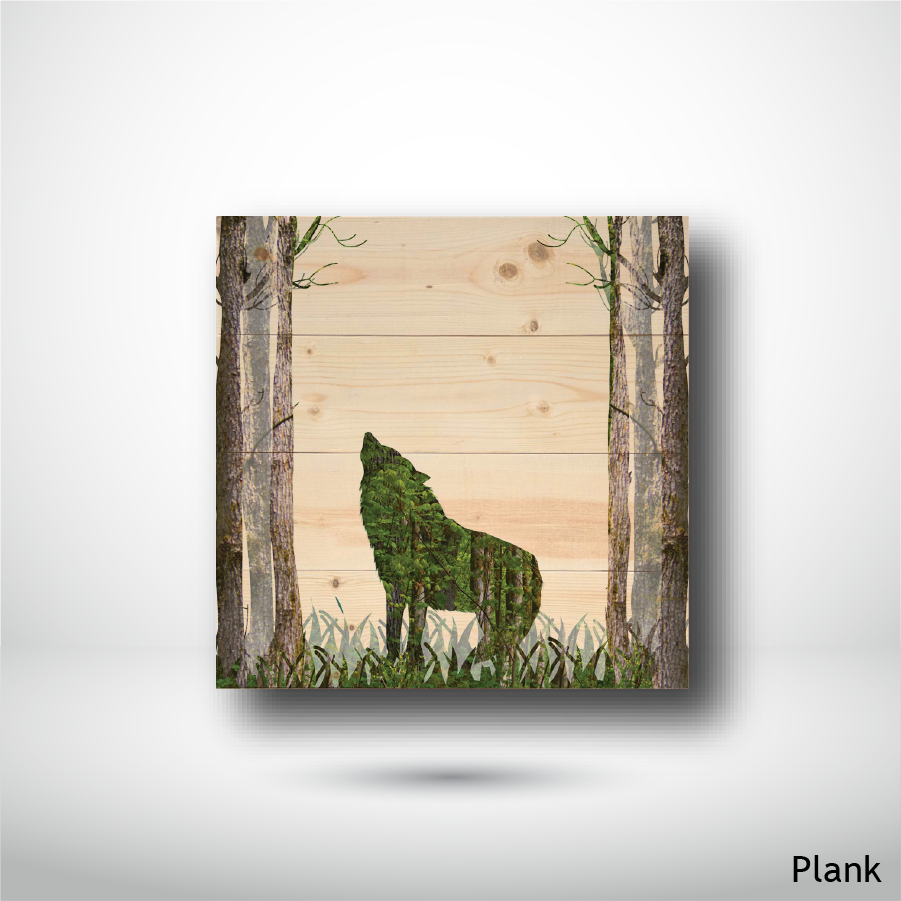 Wood Panel - Square - Plank - Wolf in the Woods