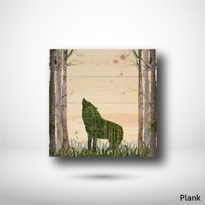 wooden art print plank wolf in the woods home decor made in bc best gift idea