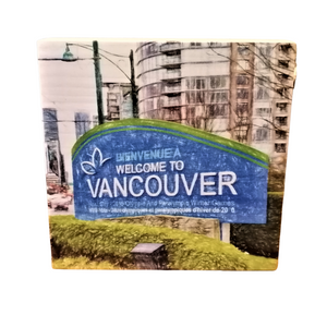 photo on wood block welcome to vancouver perfect gift great gift idea made in bc