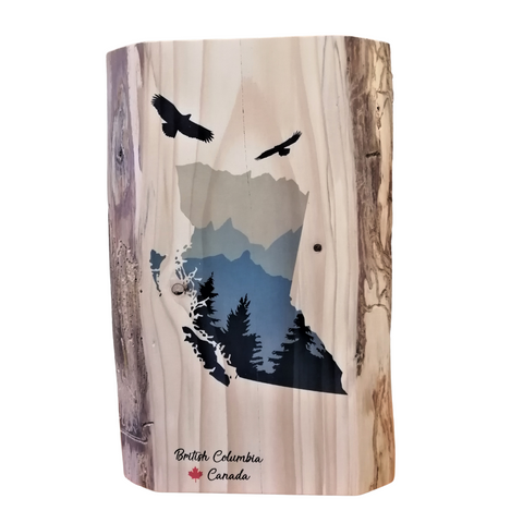 Live Edge Wood Panel Large - BC Map with Soaring Eagles