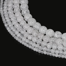 Pick Size 4 6 8 10 12mm Natural Loose Snow Cracked Round White Crystal Quartz Rock Spacer Beads For Jewelry DIY