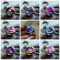 2018 New Nebula Galaxy Double Sided Pendant Necklace Universe Planet Jewelry Glass Art Picture Handmade Statement Necklace
