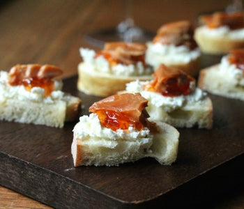 SeaChange Ice Wine Glazed Smoked Salmon with Chèvre and Red Pepper Jelly