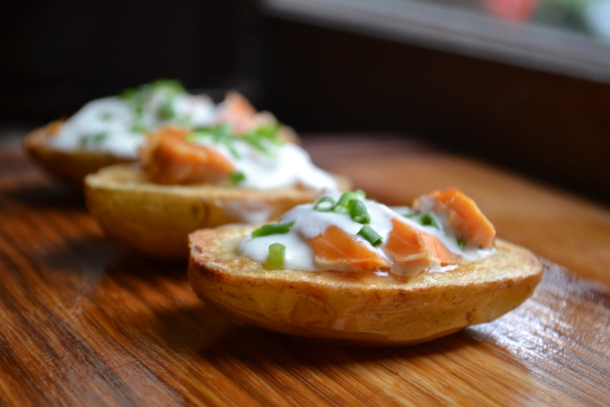 Roasted Potato Canapés with SeaChange Smoked Salmon