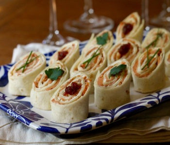 Smoked Salmon, Cream Cheese, and Spicy Tomato Jam Roll-ups
